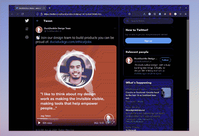"""A screenshot of the Twitter post with text that says: """"I like to think about my design work as making the invisible visible, making tools that help empower people."""""""
